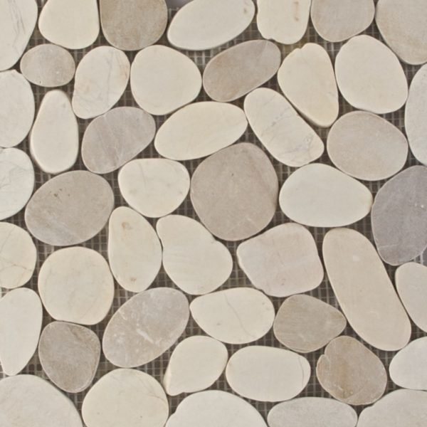 Sliced Matte Pebbles Xl White/Beige Mix (Gami-74) Photo